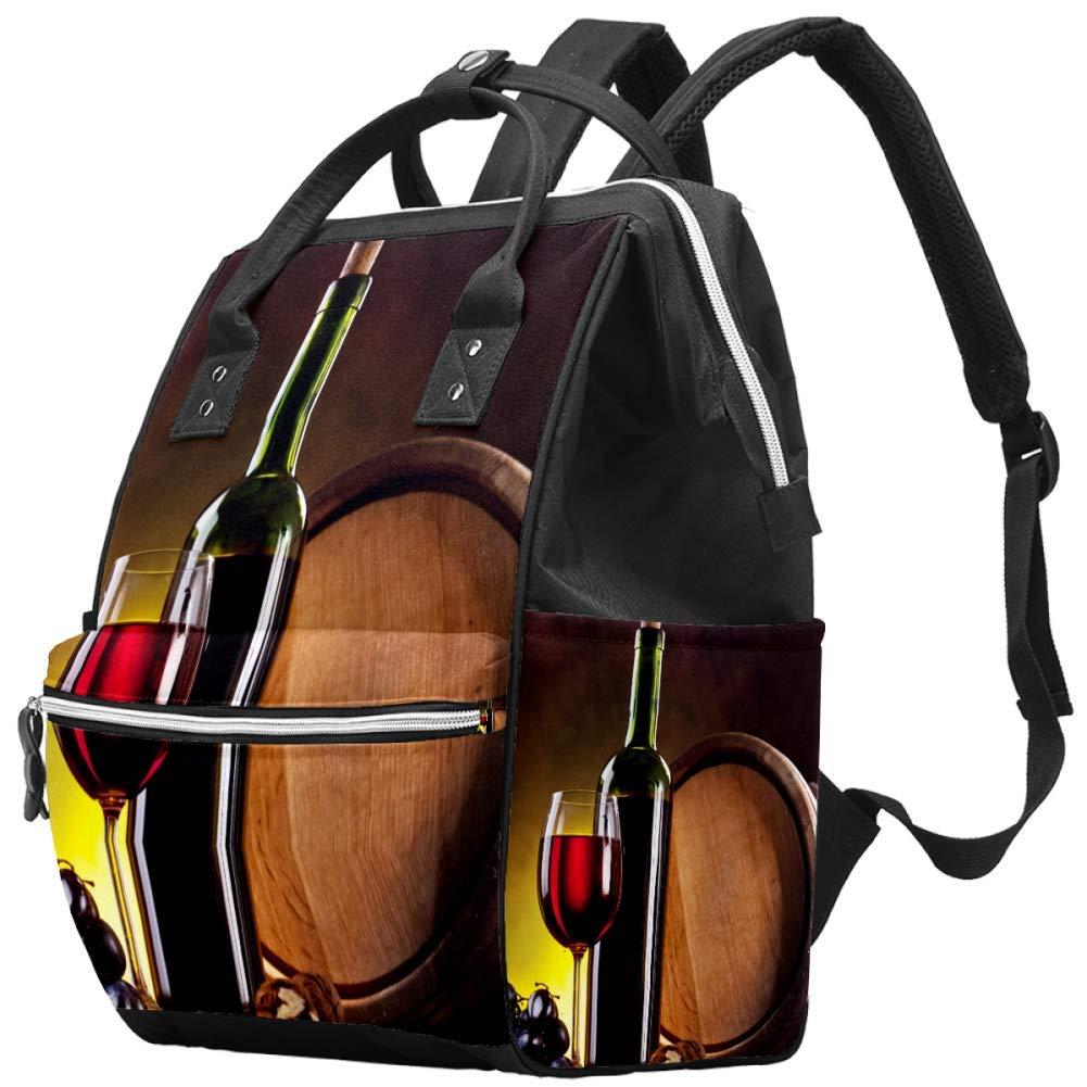 LORVIES Wine Bottle Glass Diaper Bag Backpack, Large Capacity Muti-Function Travel Backpack