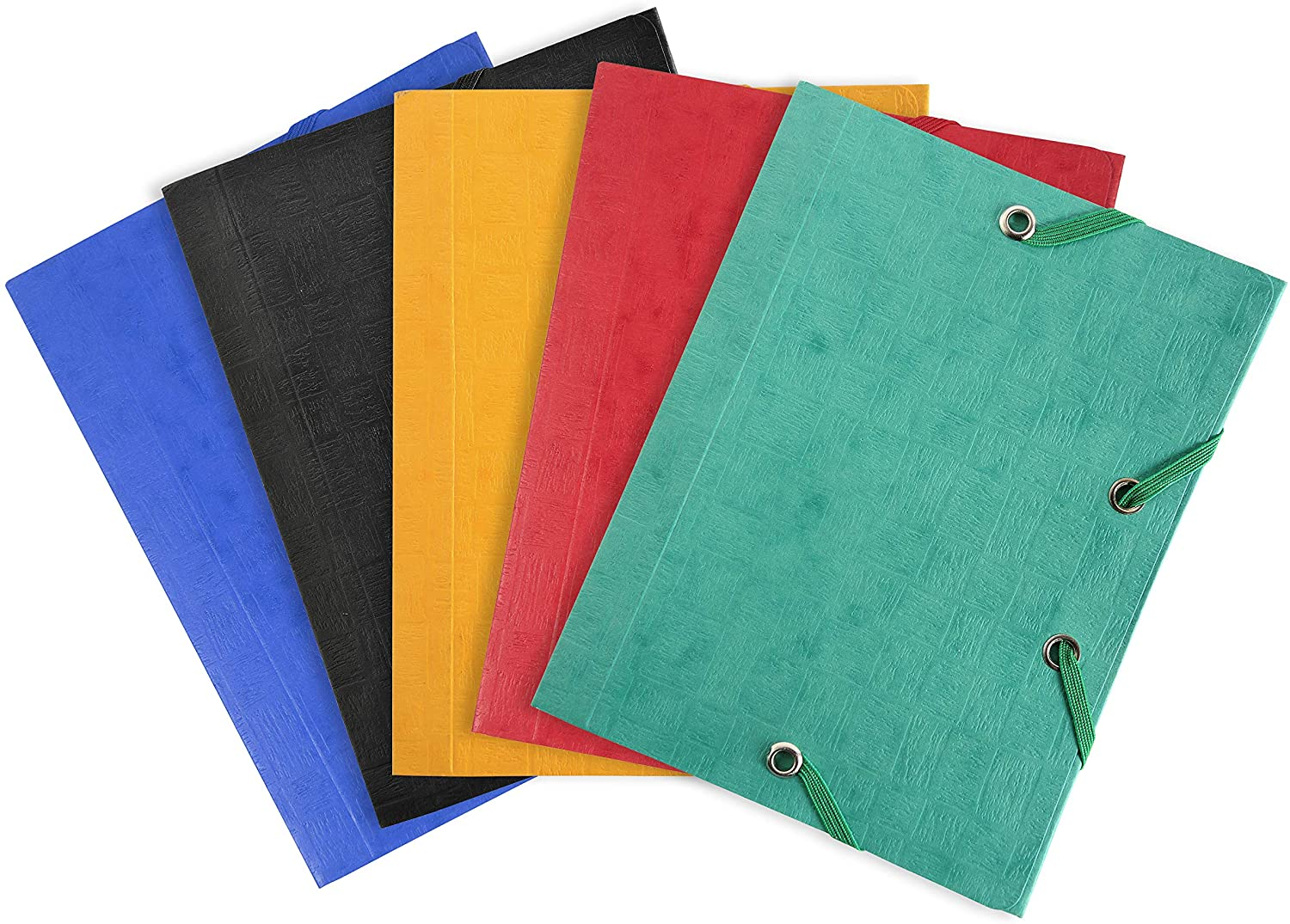 Exacompta - Ref. 50750E - Pack of 25 Elastic folders 3 Flaps Glossy Card 425 GSM - Pocket Size - 12x16cm - Assorted Colours