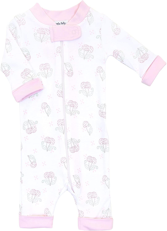 Magnolia Baby Baby Girl Vintage Cherry Zipped Pajama Pink