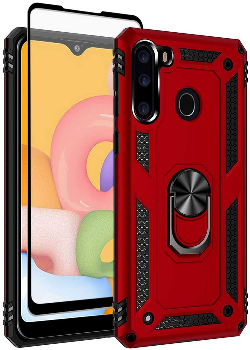 SunRemex Galaxy A21 Case with Tempered Glass Screen Protector. A21 Case Kickstand [ Military Grade ] 15ft. Drop Tested Protective Case Cover for Samsung Galaxy A21 Phone (Red)