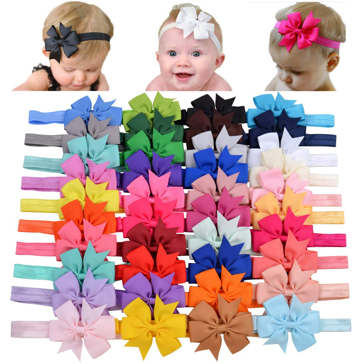 40pcs Baby Girls Grosgrain Ribbon Hair Bows Headbands 3