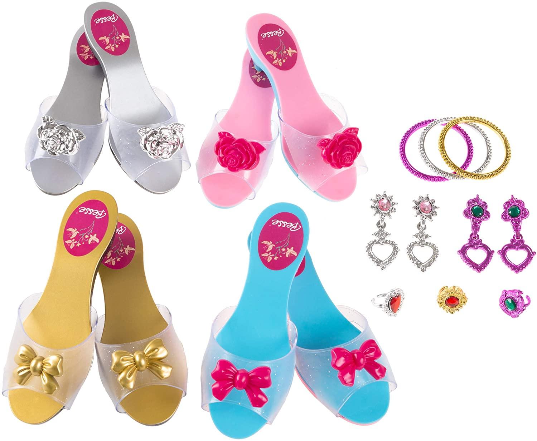 Hey! Play! Princess Dress Up Set- High Heels, Bracelets, Earrings, Rings-Pretend Play Costume Accessories for Tea Parties, Halloween, & Birthdays