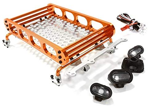 Integy RC Model Hop-ups C26609ORANGE Realistic 1/10 Scale Alloy Luggage Tray 155x109x36mm with 4 LED Spot Light Set