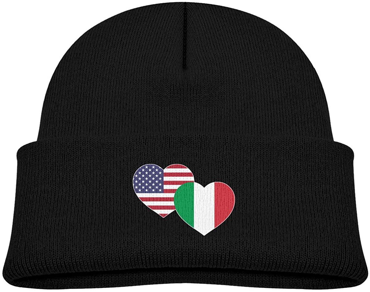EASON-G Toddler's Beanie US Italian Flag Heart Cuffed Knit Hat Skull Cap