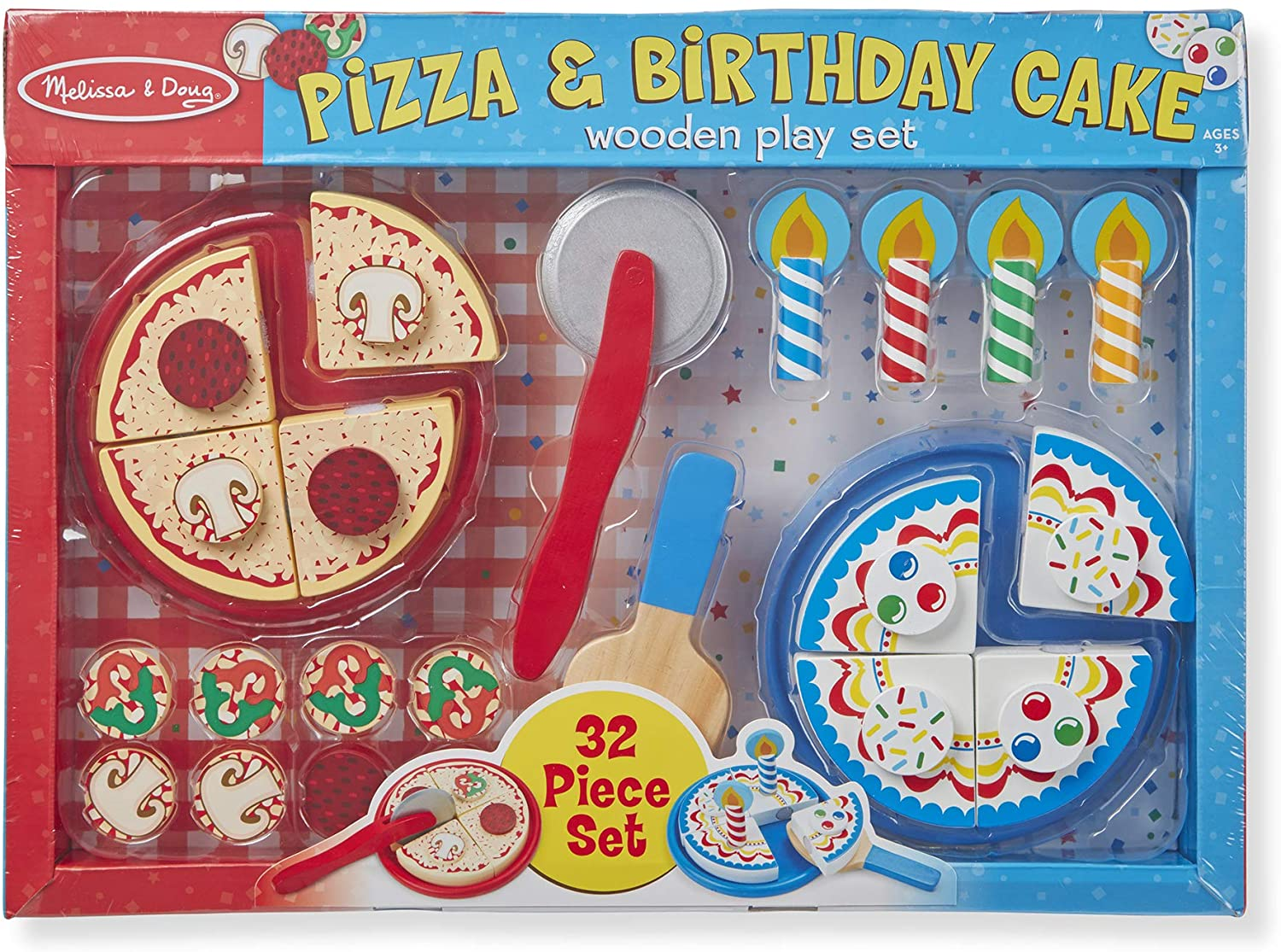 Melissa & Doug Wooden Pizza and Cake Play Set