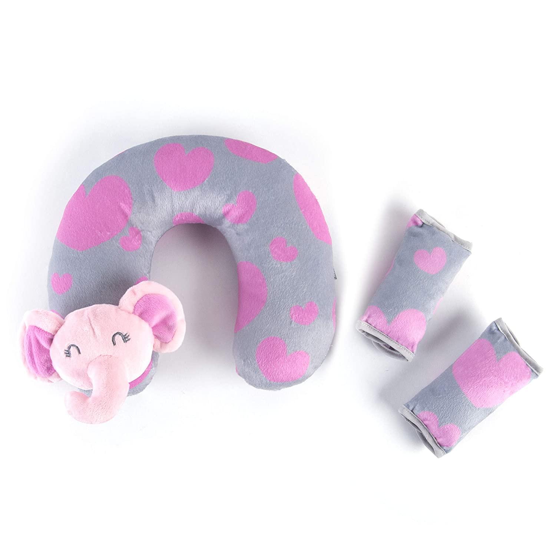 Tadpoles Tadpoles Travel Pillow & Strap Cover Set Elephant, Pink, Pink