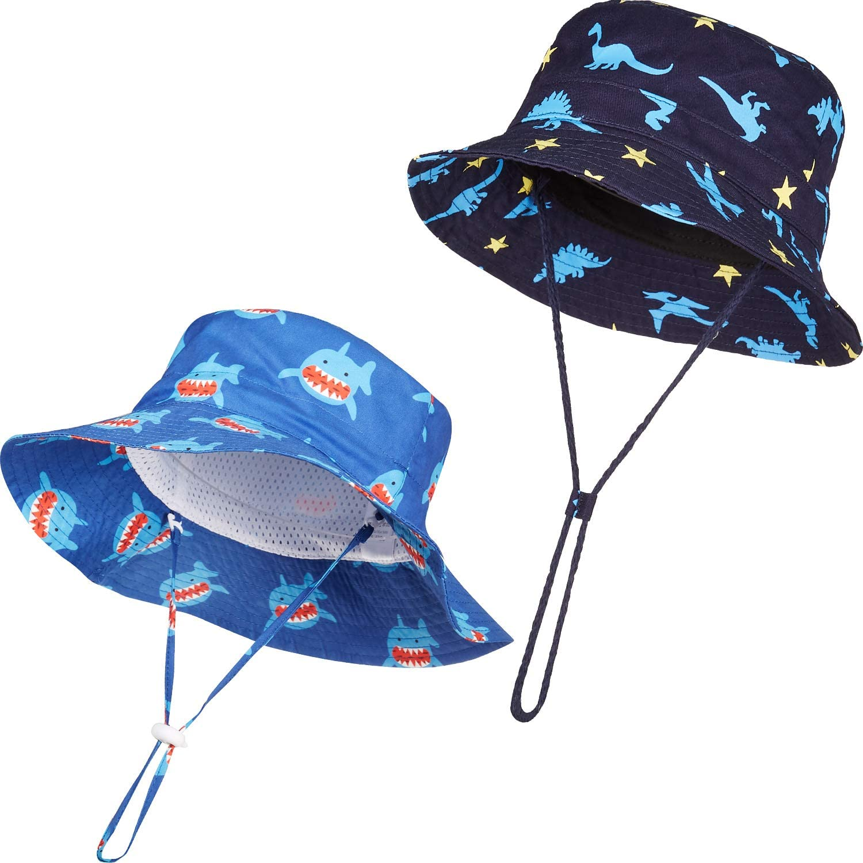 2 Pieces Baby Sun Hat Kids Beach Bucket Cap Toddler Adjustable Outdoor Hat with Chin Strap