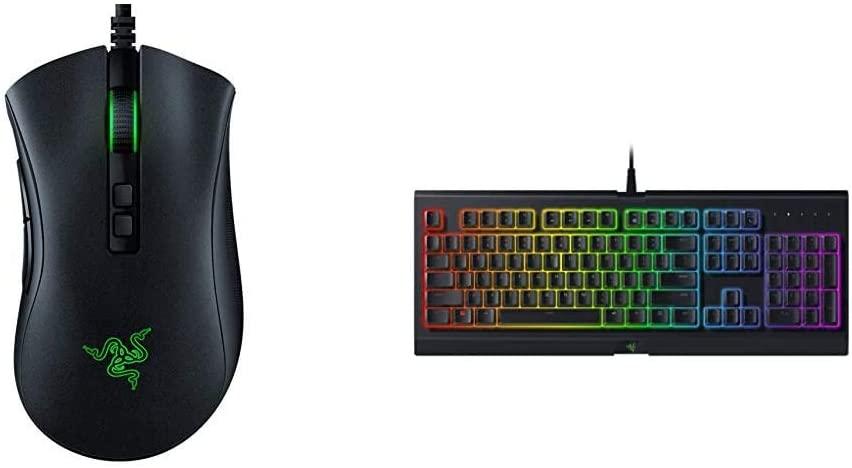 Razer DeathAdder v2 Gaming Mouse: 20K DPI Optical Sensor - Classic Black & Cynosa Chroma Gaming Keyboard: 168 Individually Backlit RGB Keys - Spill-Resistant Design - Programmable Macro Functionality
