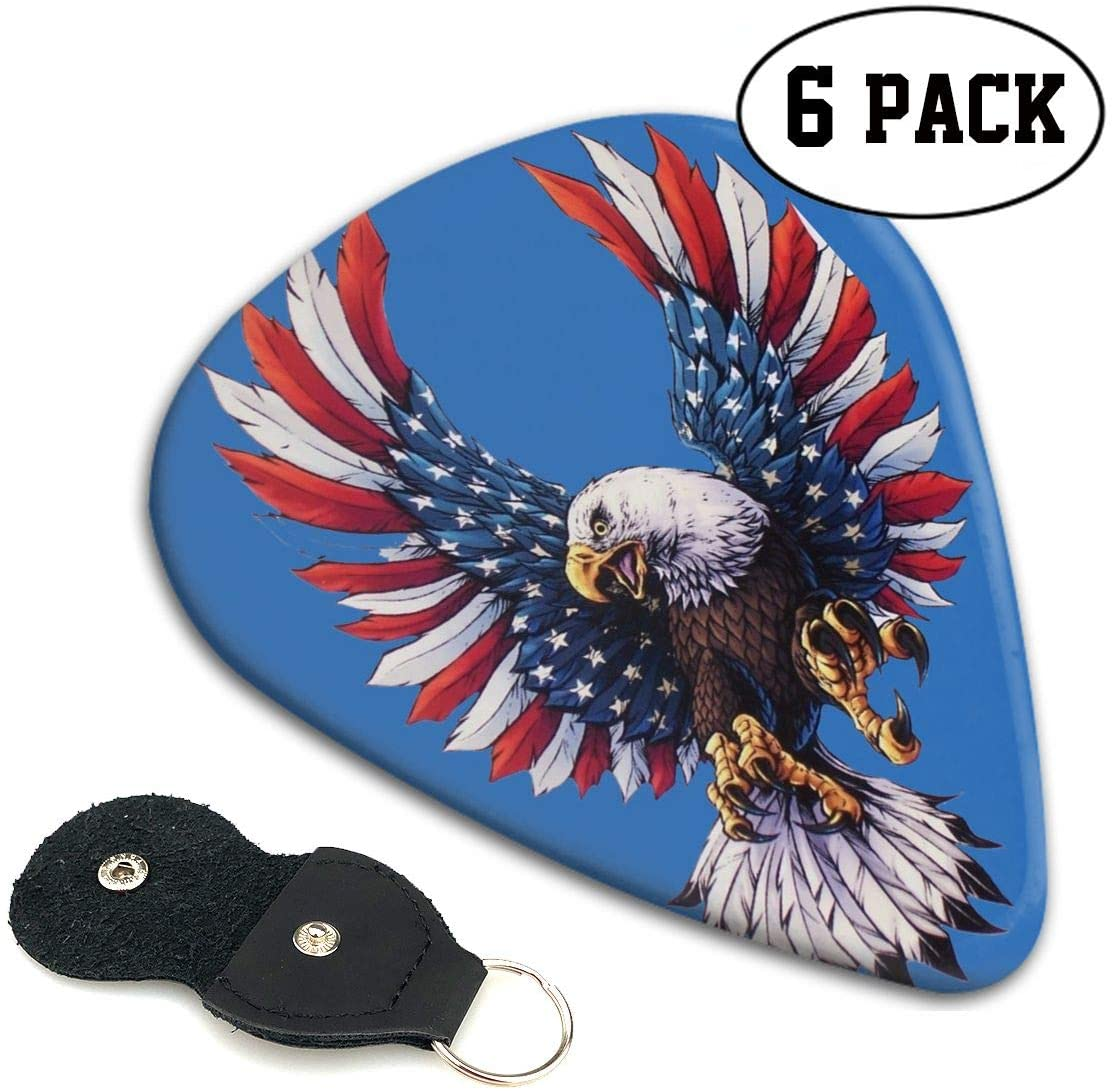 Xzyauza American Falg Bald Eagle Celluloid Guitar Picks Premium Picks 6 Pack for Guitar,Mandolin,and Bass 0.46mm,0.71mm,0.96mm Optional with PU Leather Pick Holder