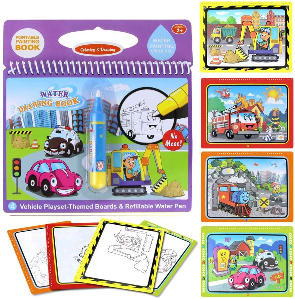 Jenilily Water Coloring Doodle Book, Reusable Drawing Book with Pen Painting Board, Educational Toy Travel Kits Gift for Age 3+ Kids Girls and Boys (Vehicle Playset)