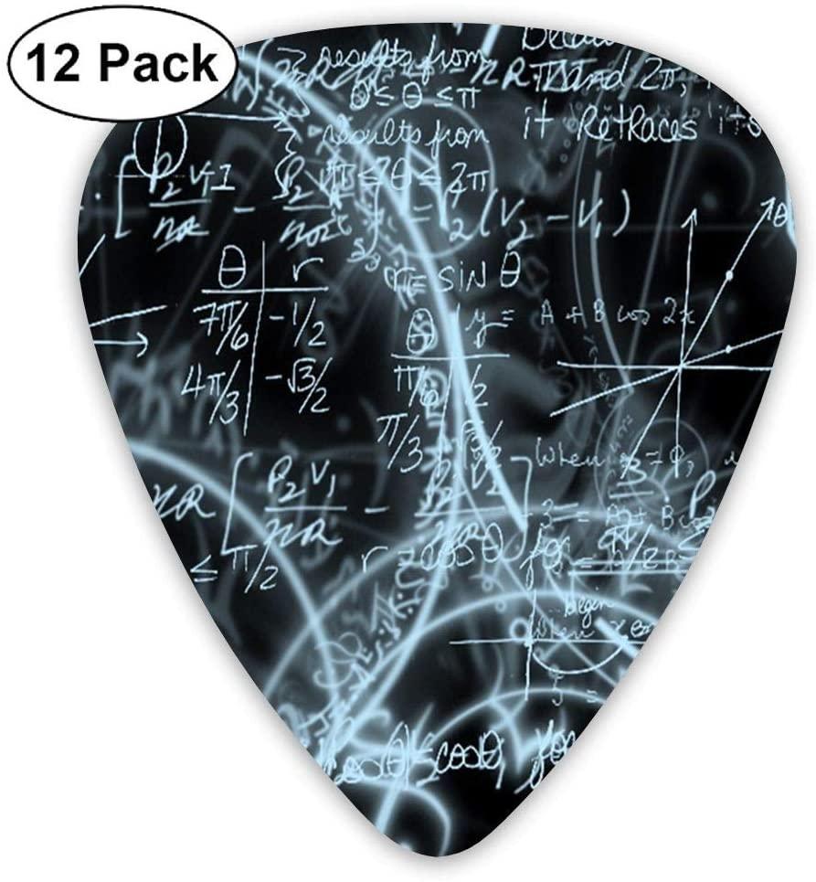TO-JP 351 Shape Classic Celluloid Mathematical Formula Guitar Picks 12 Pack