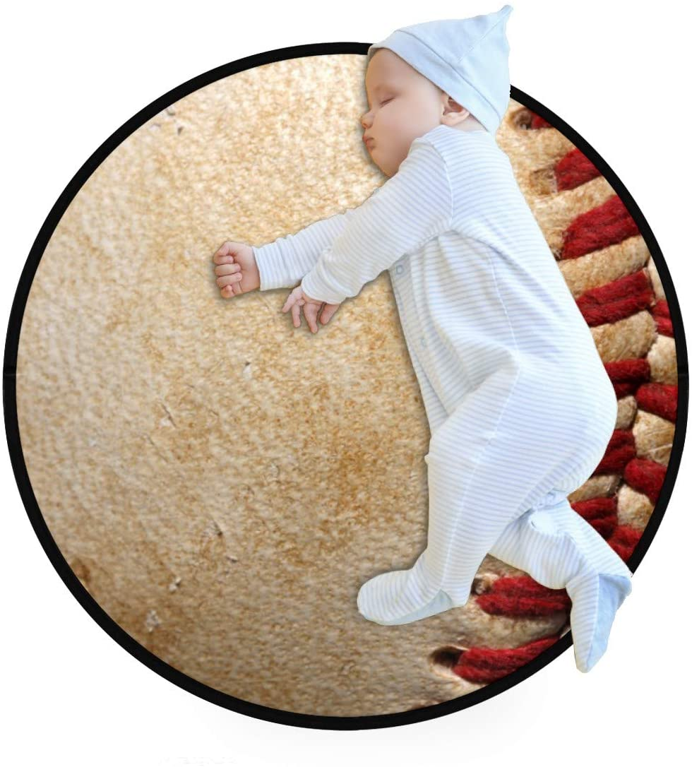 Vintage Baseball Sport Leather Kids Round Rug Baby Crawling Non-Slip Mats Child Activity Play Mat for Bedroom Playroom Home Decor (Diameter 27.6