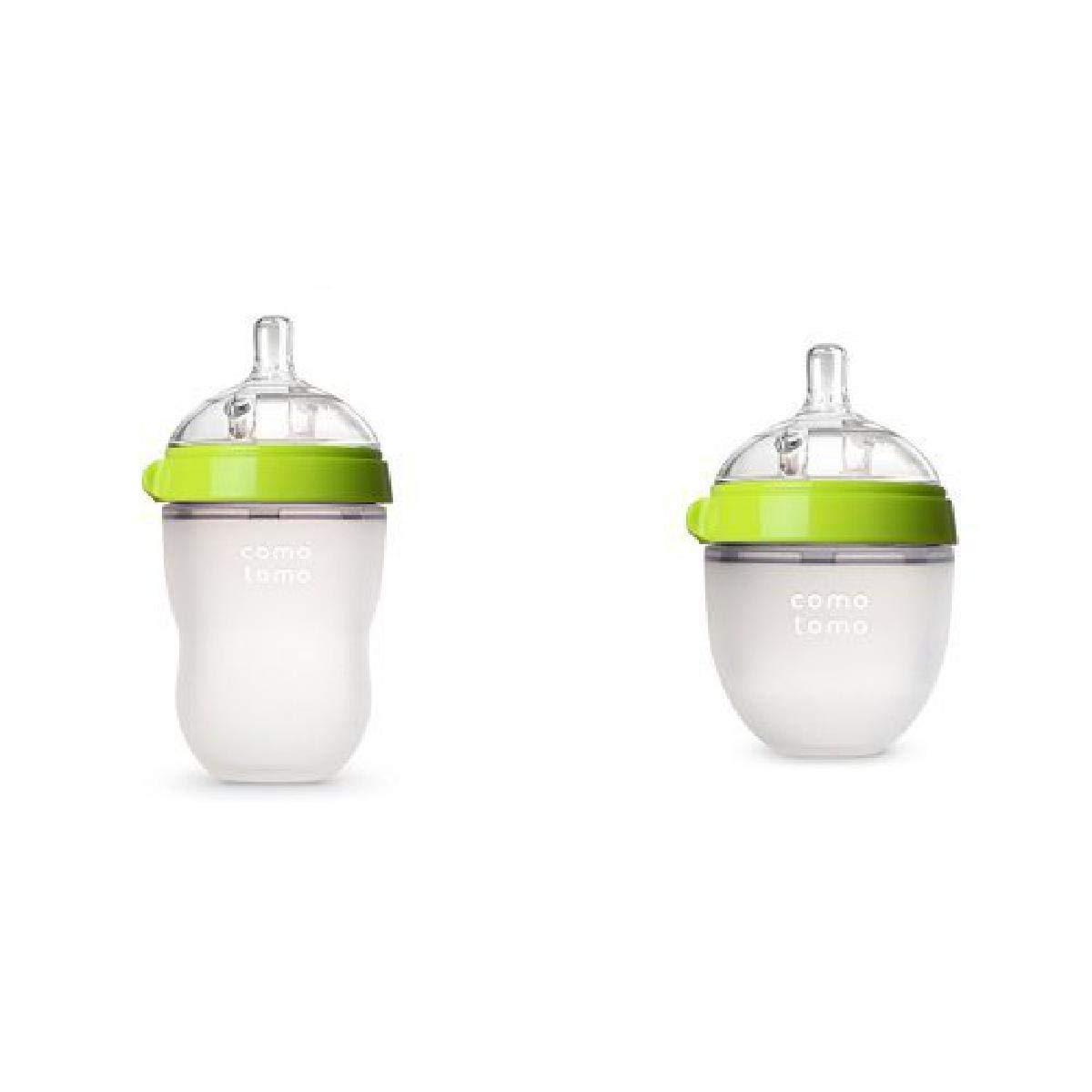 Comotomo Natural Feel Baby Bottle Set, Green, (One 8-Ounce, One 5-Ounce)