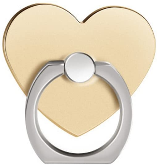 Phone Ring Stand Holder, [Gold Heart] 360 Degree Rotation Phone Grip Kickstand for Universal Smartphones Cell Phone