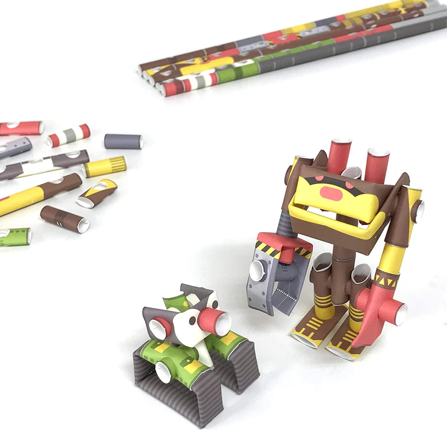 PIPEROID DIY 3D Puzzle Paper Craft Kit Penk & Bearborg Professor & Robot Bear - Japanese Arts and Craft Kit for Kids and Adults - Birthday Gift and Party Favor for Origami Paper Craft Enthusiasts