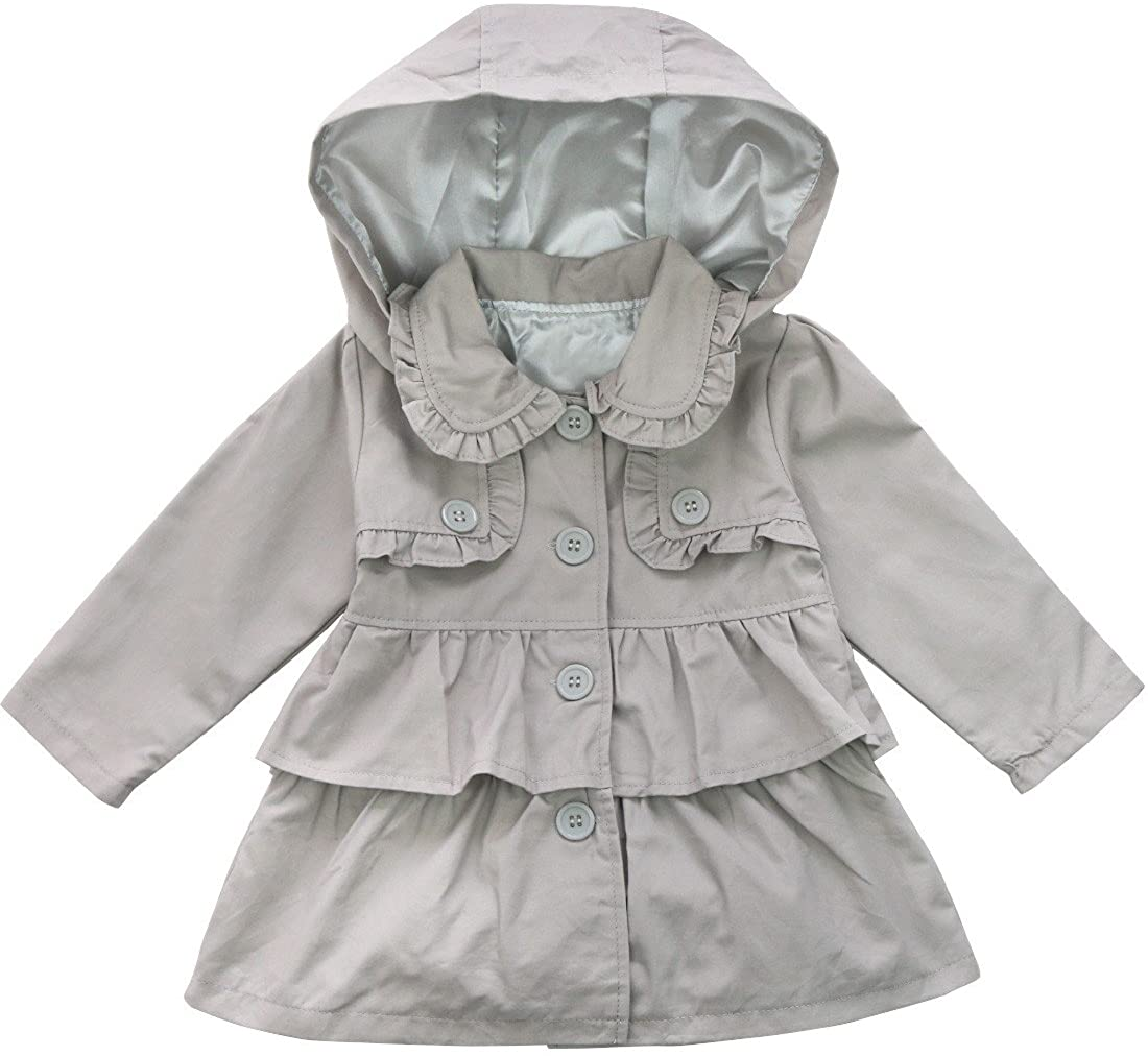 FEESHOW Baby Toddler Girls Spring Trench Coat Wind Hooded Jacket Kids Outerwear