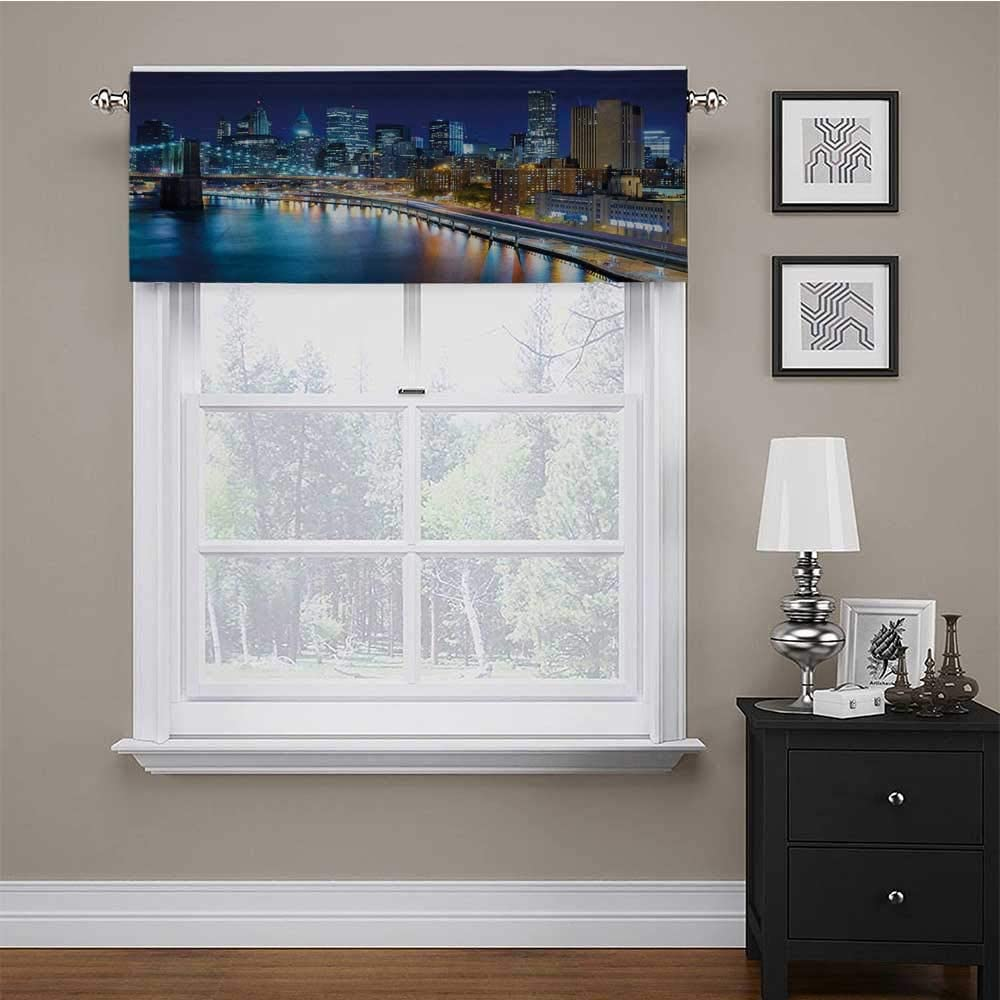 Window Scarf Landscape for Kids Room/Baby Nursery/Dormitory View of New York City Manhattan Bay Harbour at Night with Lights and Skyscrapers 54
