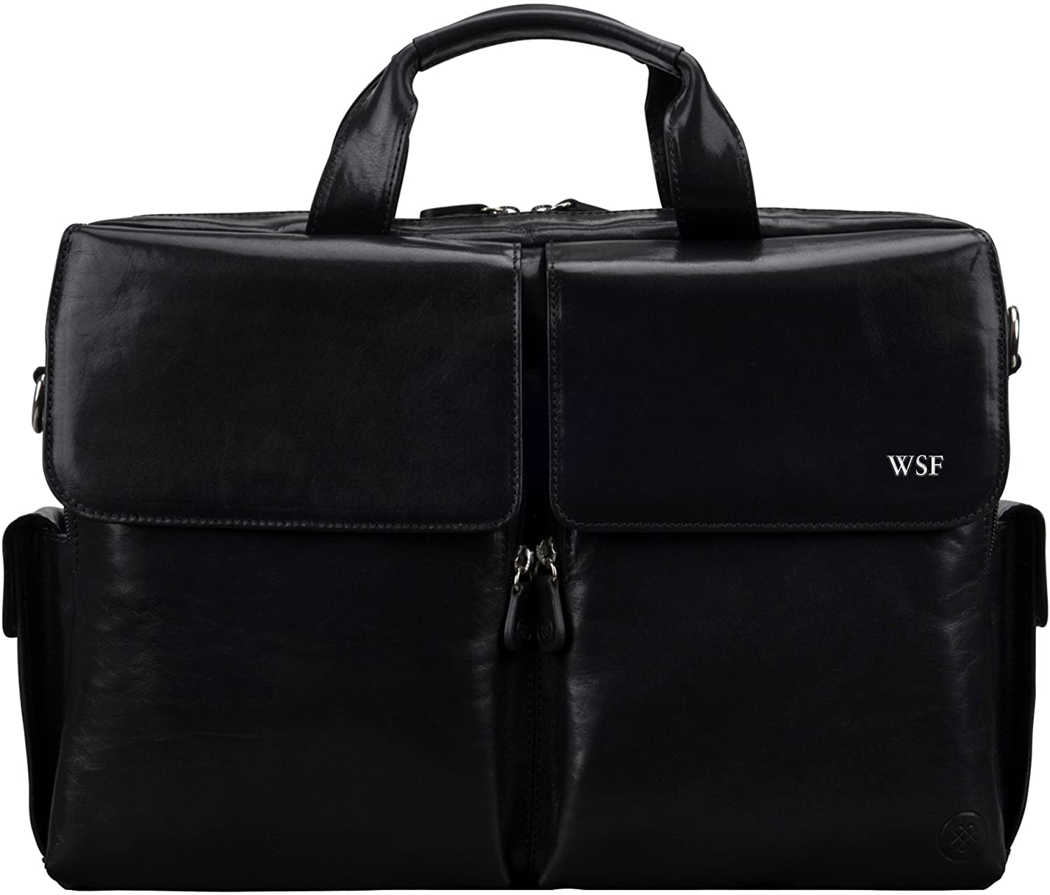 Maxwell Scott Personalized Men's Real Italian Leather Briefcase - Lagaro Black