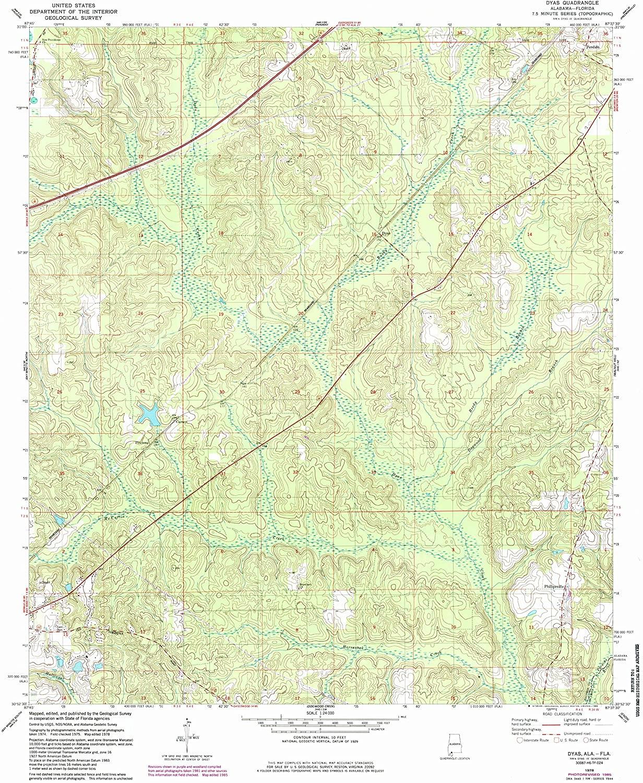 Map Print - Dyas, Alabama (1978), 1:24000 Scale - 24