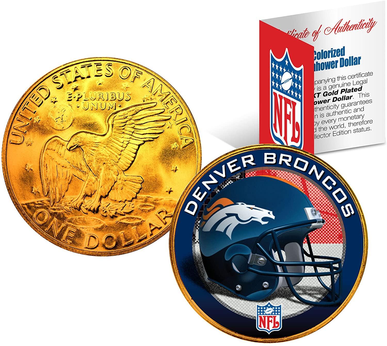 DENVER BRONCOS NFL 24K Gold Plated IKE Dollar US Coin OFFICIALLY LICENSED with NFL Certificate