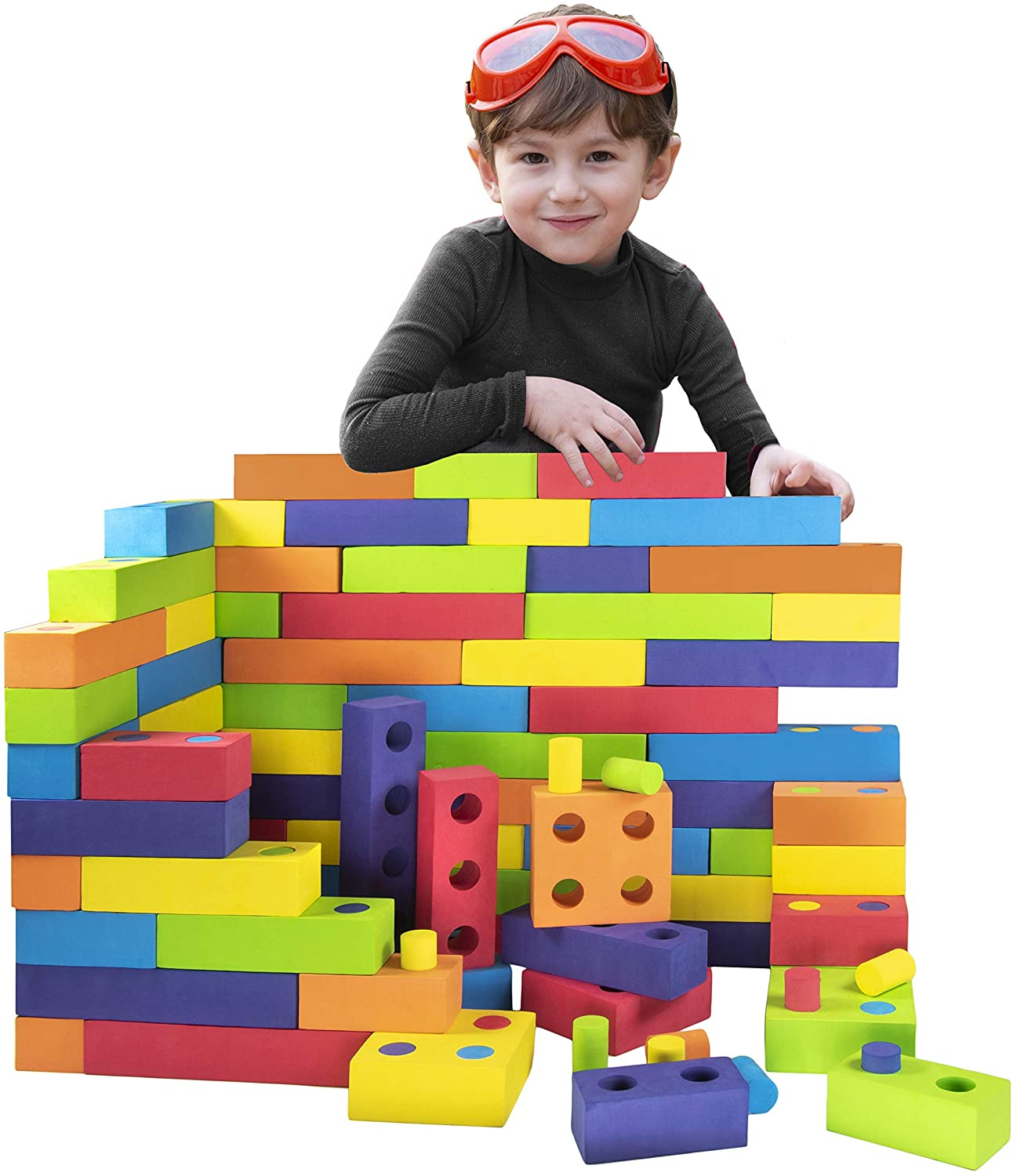 Playlearn Jumbo Foam Building Blocks with Peg Connectors – 180 Pieces - Multi-Colored Stacking Blocks for Kids – Safe Non-Toxic EVA Foam