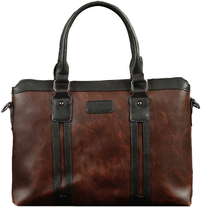 Chickle Men's Coffee Vintage PU Leather Briefcase Handbag