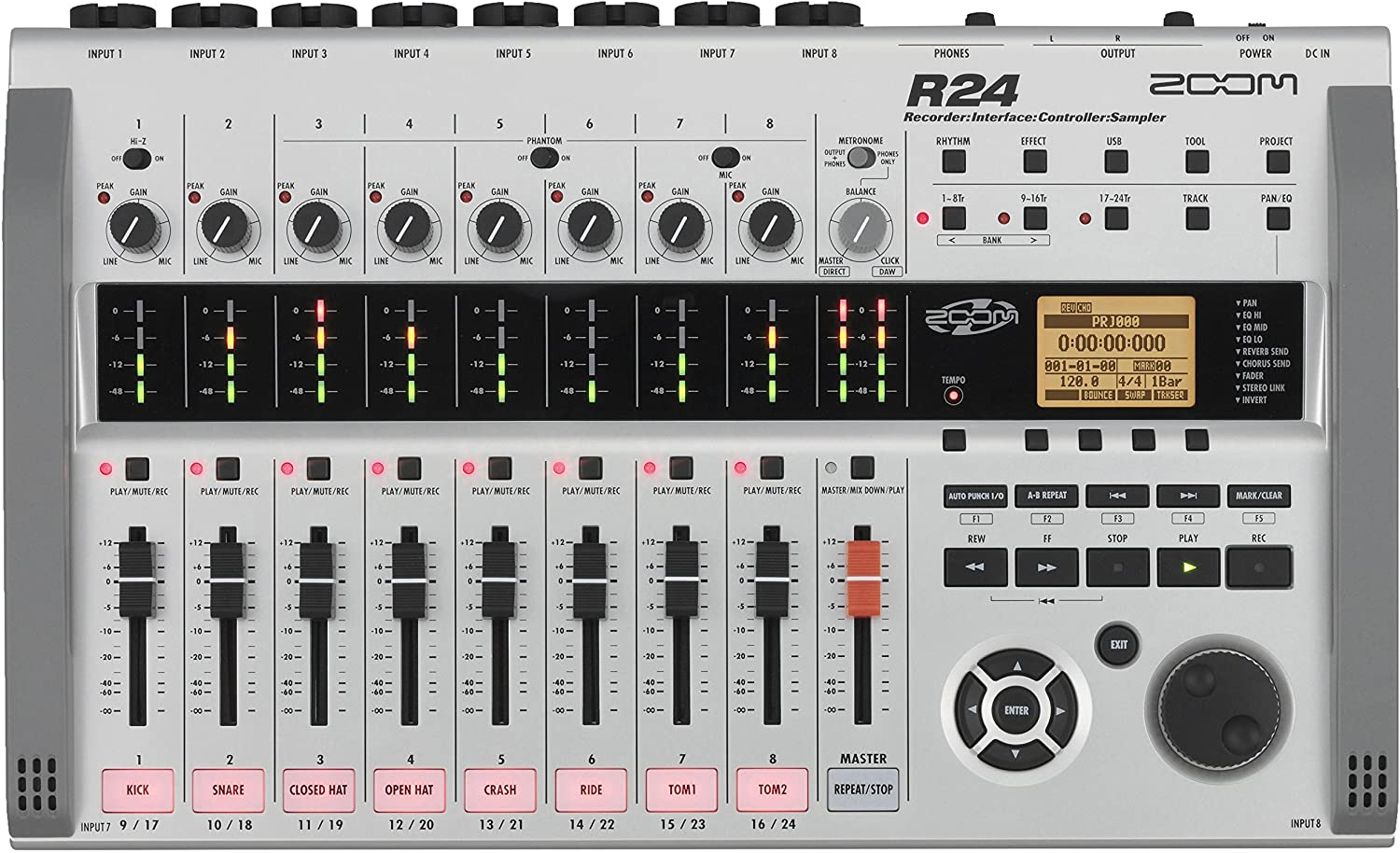 Zoom R24 Multi-Track Tabletop Recorder, Interface, Controller, 8 XLR Combo Inputs, 24 Tracks, USB Audio Interface, Built In Stereo Condenser Microphones, Pad Sampler