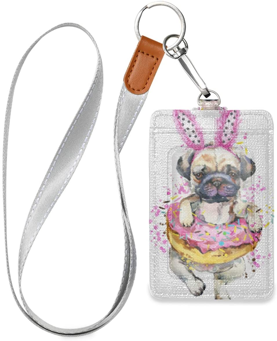 Donut Dog Vertical ID Badge Holder with Lanyard, PU Leather Card Holder for School ID Office ID