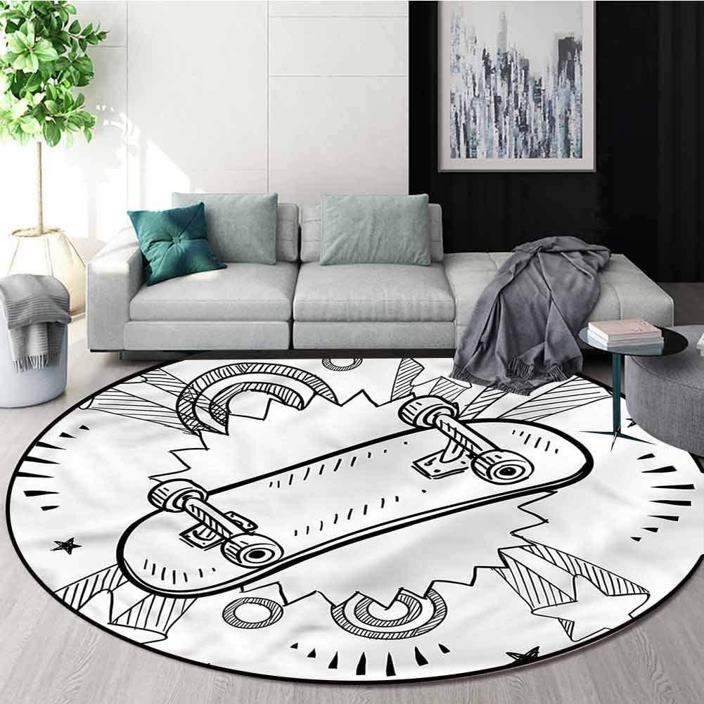 RUGSMAT Doodle Modern Vintage Rugs,Skateboard Pop Art Style Non-Slip No-Shedding Bedroom Soft Floor Mat Diameter-63
