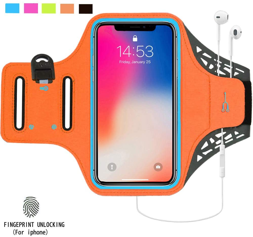 Sweat Resistant Armband for iPhone Xs Max XR X 8 7 6 6s Plus with Adjustable Elastic Band & Key Holder for Running, Walking, Hiking, Jogging, Skin Faric,100% Lycrar