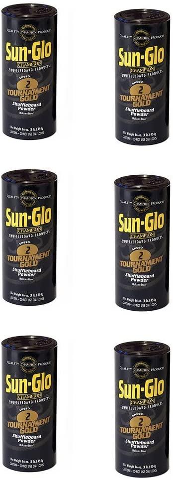 Sun-Glo Shuffleboard Wax - Speed #2 - Tournament Gold- 6 pack