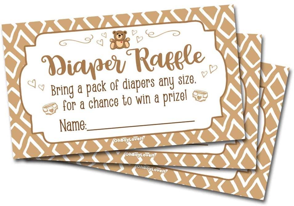 50 Diaper Raffle Tickets Brown Teddy Bear Baby Shower Theme - Gender Neutral Shower Game Activity