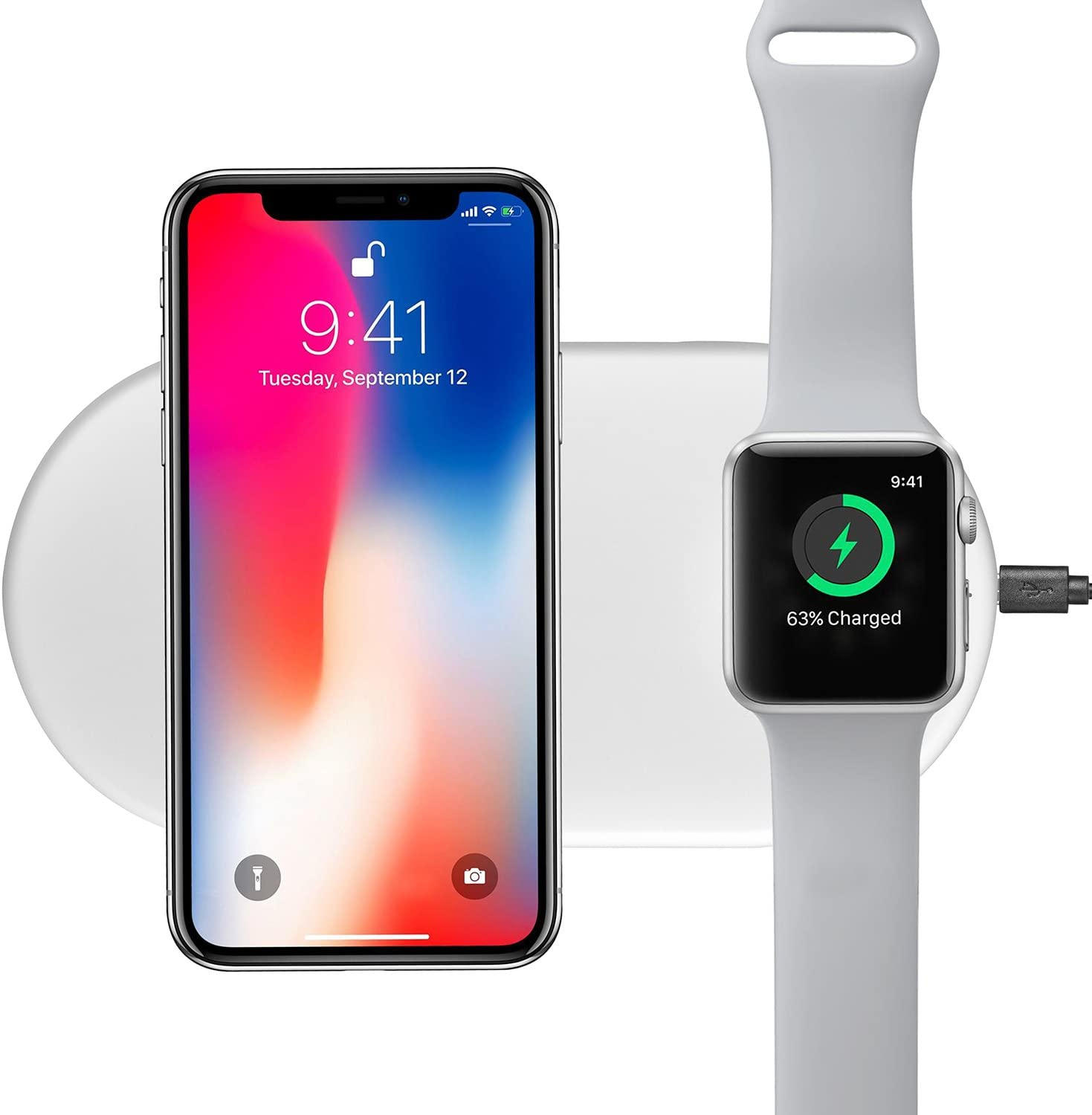 ORBMART Wireless Charger, 7.5W/10W Fast Wireless Charging Pad Compatible for iPhone X / 8/8 Plus, Samsung Galaxy S9/S8/S8 Plus/Note 8/Note 9, Apple Watch Series 3/2/1 (Pure White)