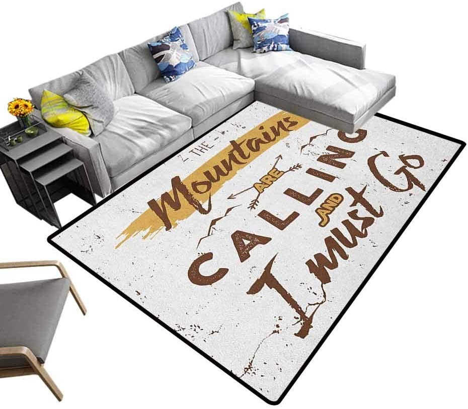Nursery Rugs Adventure, Baby Playmats Crawling Mat Mountains are Calling Quote Travel Outdoors Inspirational for Bedroom Playroom Nursery, Best Shower Gift Brown Pale Coffee White, 4 x 4 Feet