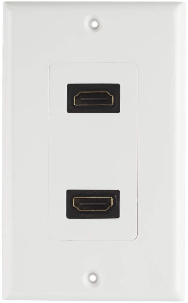TENINYU Dual HDMI Wall Plate (2 Port) - 4K UHD, ARC, and Ethernet Pass-Thru Support (1-Gang) White - for 2 HDMI (2-Port)