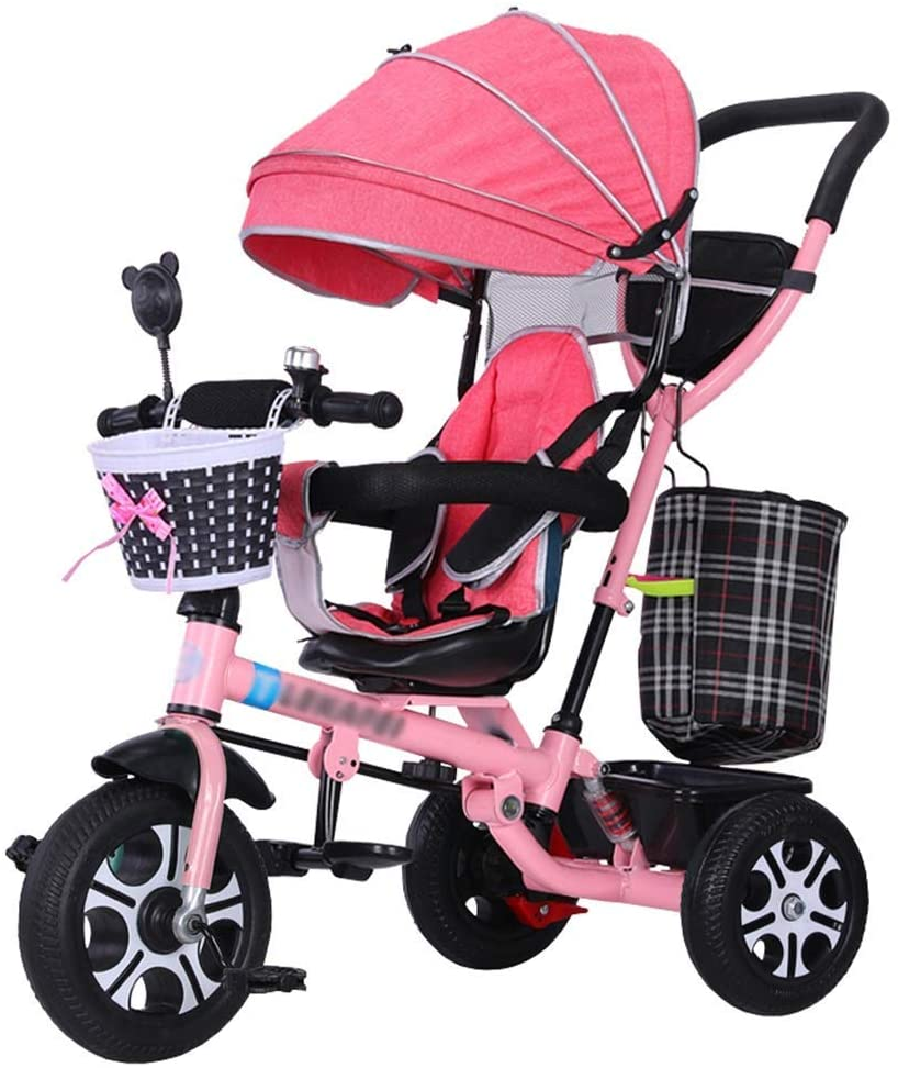 Pushchair 4-in-1 Baby Trolley Kids' Tricycle Stroller Quick Fold Trike with Safety Harness and Shock Absorber Children Bike for 6 Months - 5 Years Old (Pink)