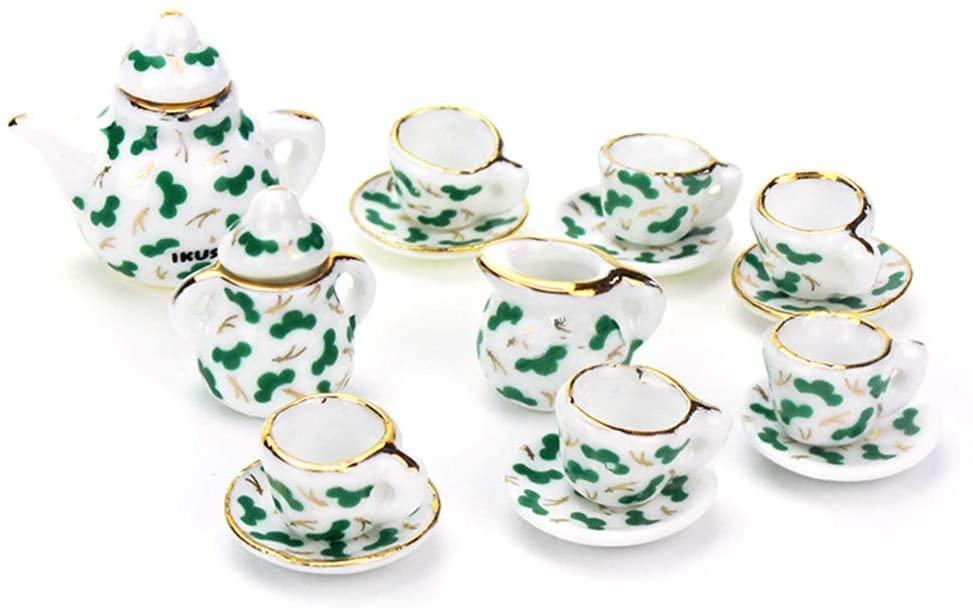 loinhgeo 1:12 Miniature 15PCS Green Porcelain Tea Cup Set with Golden Dollhouses Kitchen Accessories Pretend Play Toy