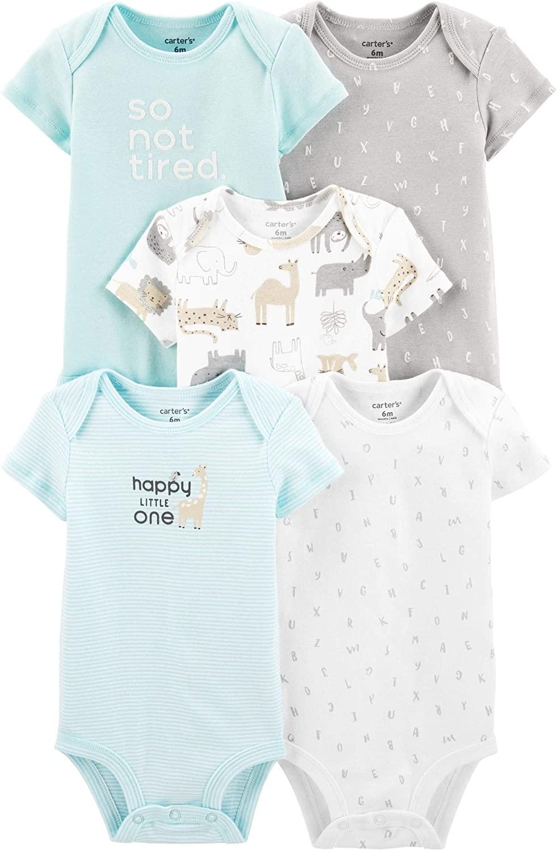 Carters Baby Boys 5 Pack Bodysuit Set, Alphabet, 6 Months