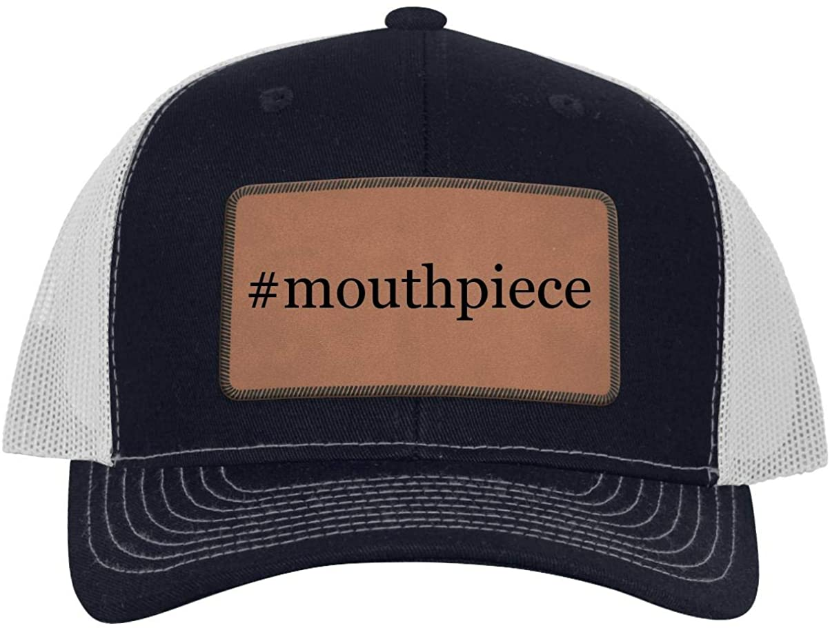 One Legging it Around #Mouthpiece - Leather Hashtag Dark Brown Patch Engraved Trucker Hat