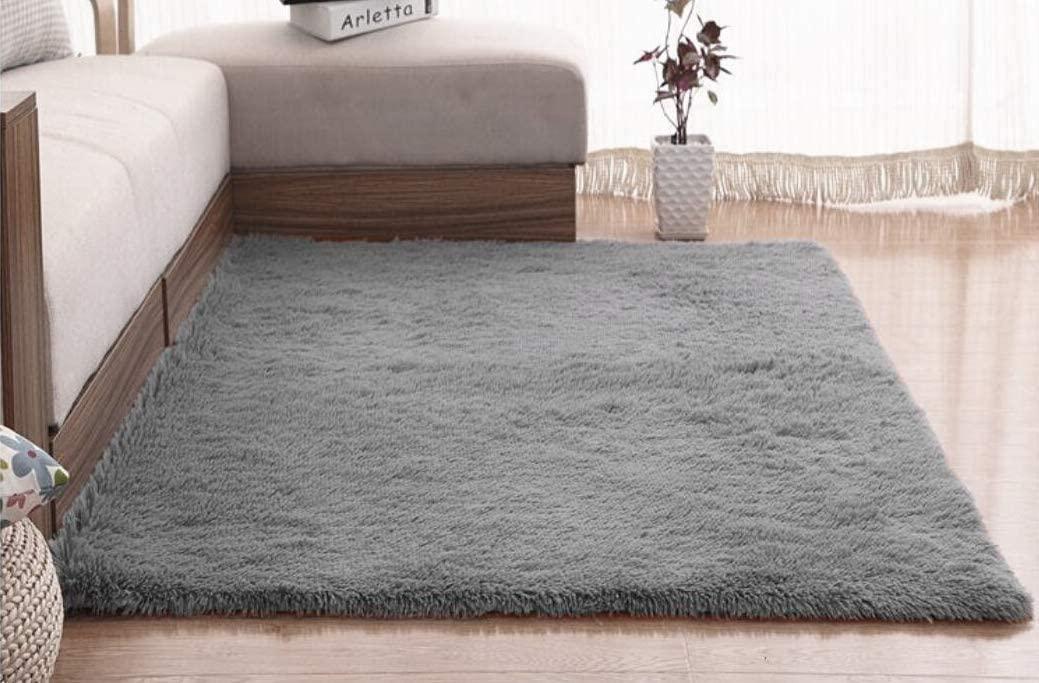 FlashLTD Fluffy Ultra Soft Shaggy Area Rugs for Kids Baby Children Fluffy Carpet for Kids Room Bedside Nursery Rug (3' x 5', Grey)