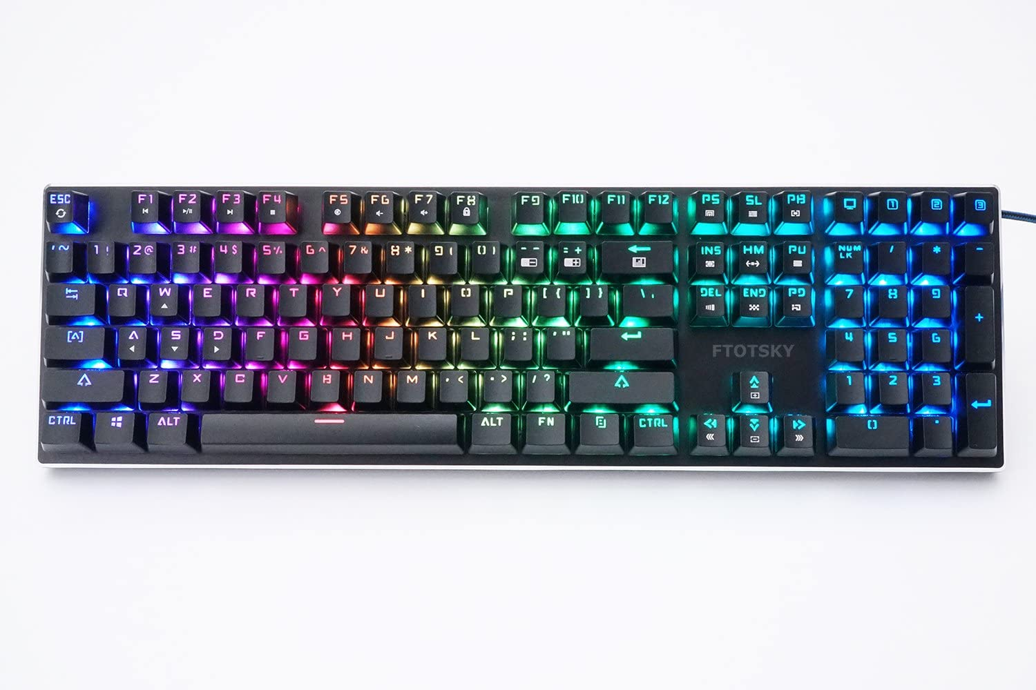 FTOTSKY Mechanical Keyboard RGB Backlit Wired Gaming Keyboard Extra-Thin & Light, Kailh Latest Low Profile Blue Switches, 104 Keys N-key Rollover