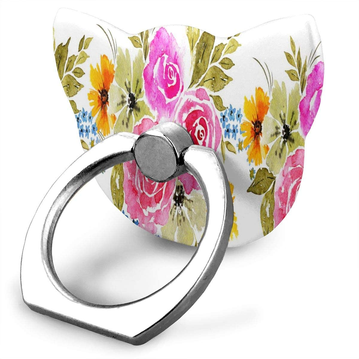 Cell Phone Ring Holder Stand Magnificent Bright Soft Flowers,Leaves Grass, Painted With Love Adjustable Cat Shape Universal Finger Grip Loop with Silver Metal Phone Holder for Women Kids Men Ladies Sm
