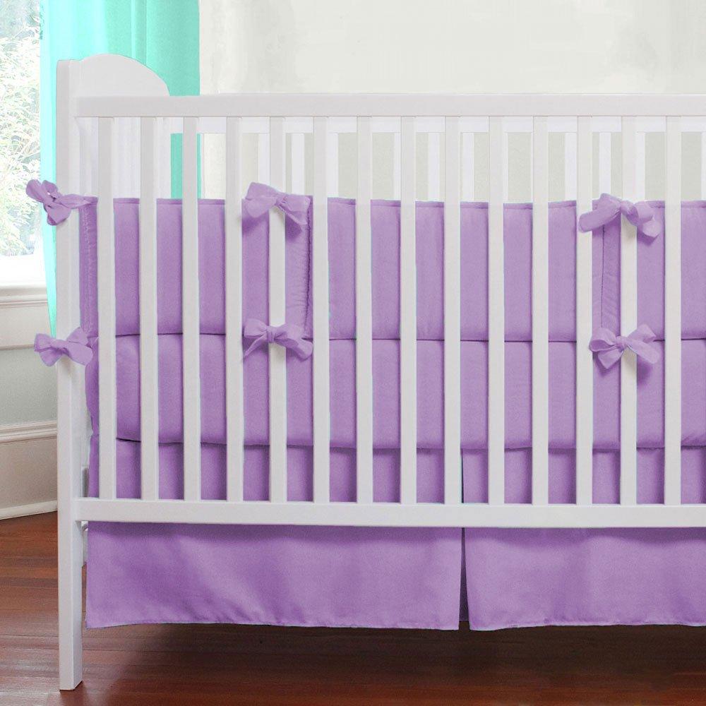 Nursery Baby Cradle Bedding Set 100% Egyptian Cotton 500 TC 3-Piece Set Fitted Sheet, Comforter, Bumper (Lavender,Cradle)