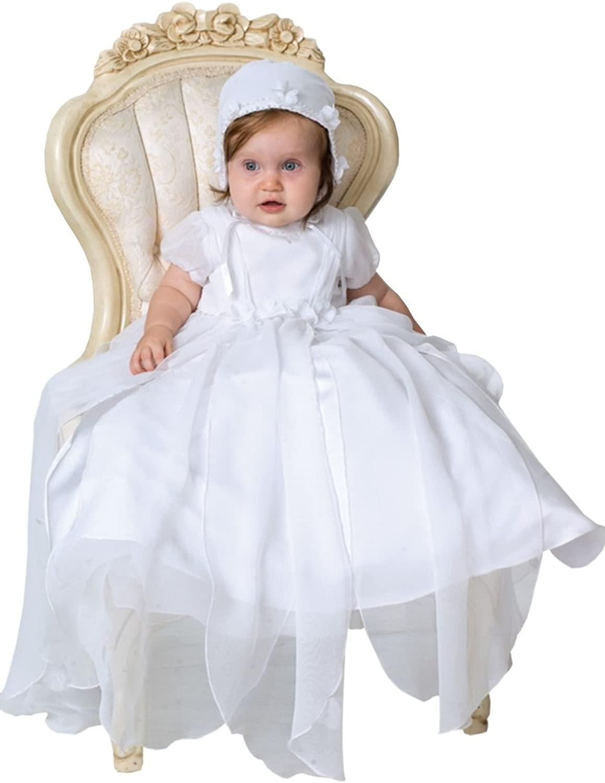 Newdeve Baby-girls White Long Christening Dresses with Bonnet