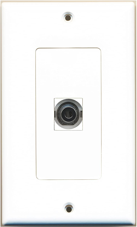 RiteAV - 1 3.5mm Audio-Headphone Jack Port Wall Plate Decorative - White