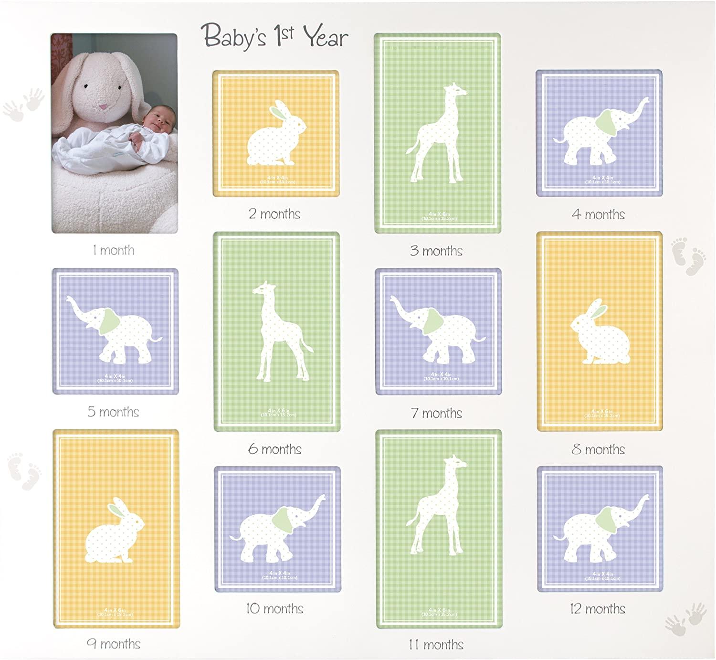 Malden International Designs Babys 1st Year Wall Collage Picture Frame, 12 Option, 6-4x6 & 6-4x4, White