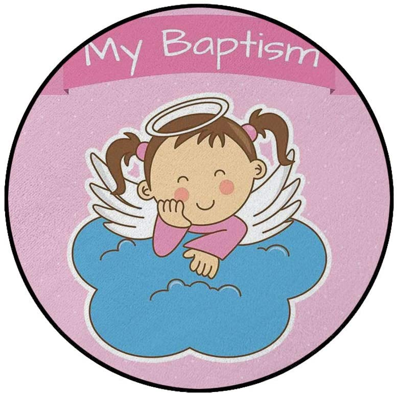 4' Round Area Rugs,Pair of Wings on a Cloud Girl Baptism Anniversary Baby Announcement Cartoon Art Super Soft Washable Carpet for Living Room Bedroom Home Children Playroom Nursery, Light Pink Blue