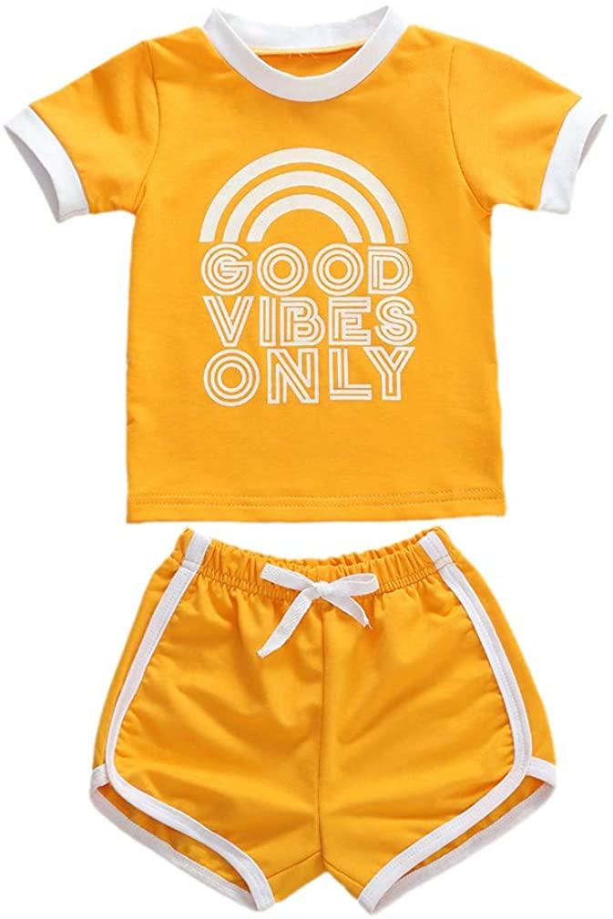 Baby Girls Rainbow Cotton Shorts Set Sleeveless Romper Drawstring Shorts Pants Outfit Summer Clothes