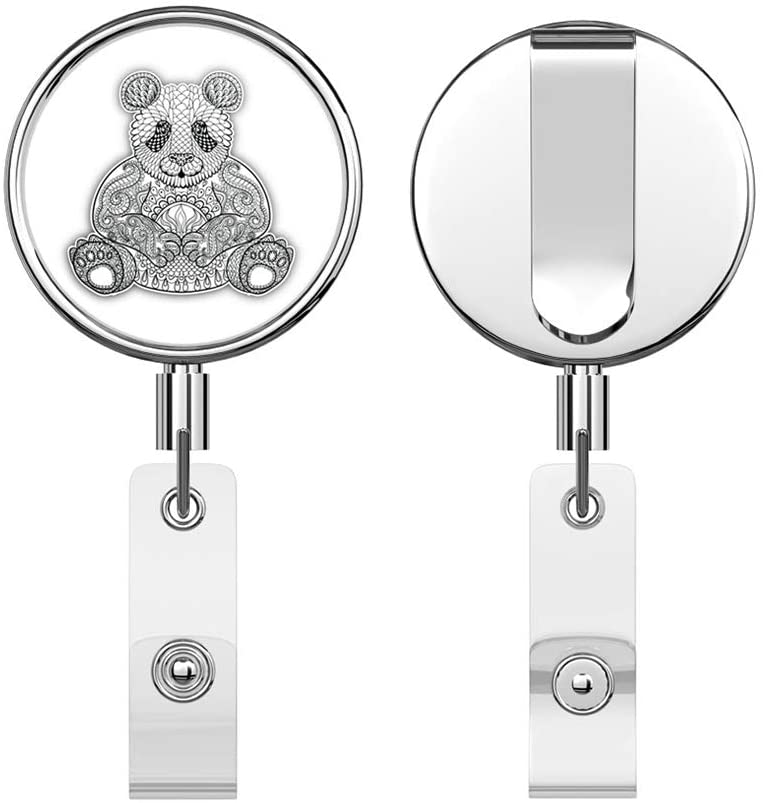 Patterned Panda Round ID Badge Key Card Tag Holder Badge Retractable Reel Badge Holder with Belt Clip