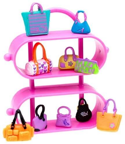 Polly Pocket Pretty Purses Accessories Pack - 10 Purses + Fashion Rack